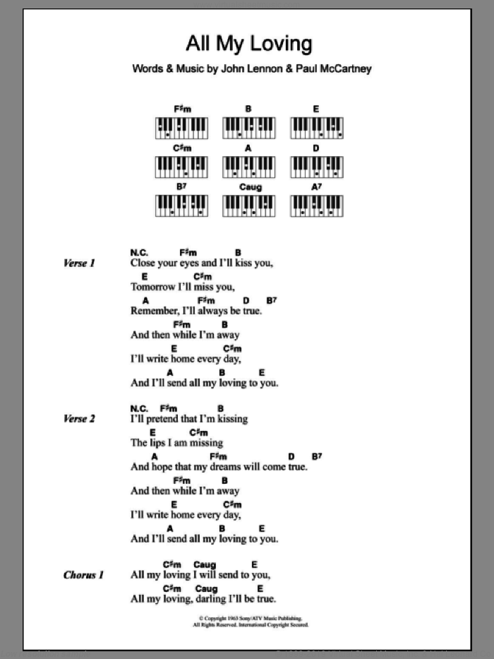 Beatles All My Loving Sheet Music For Piano Solo Chords Lyrics Melody