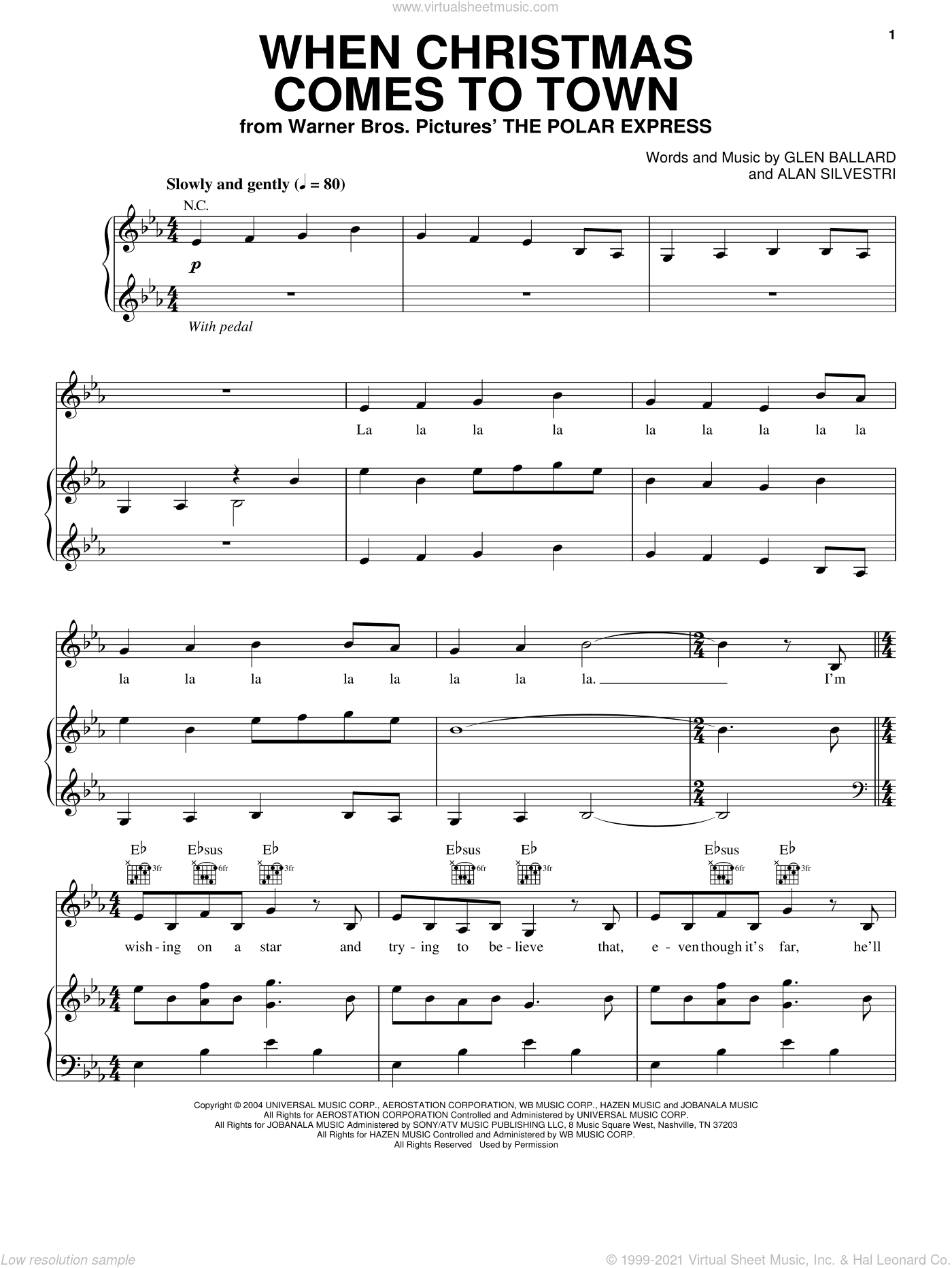 Ballard When Christmas Comes To Town Sheet Music For