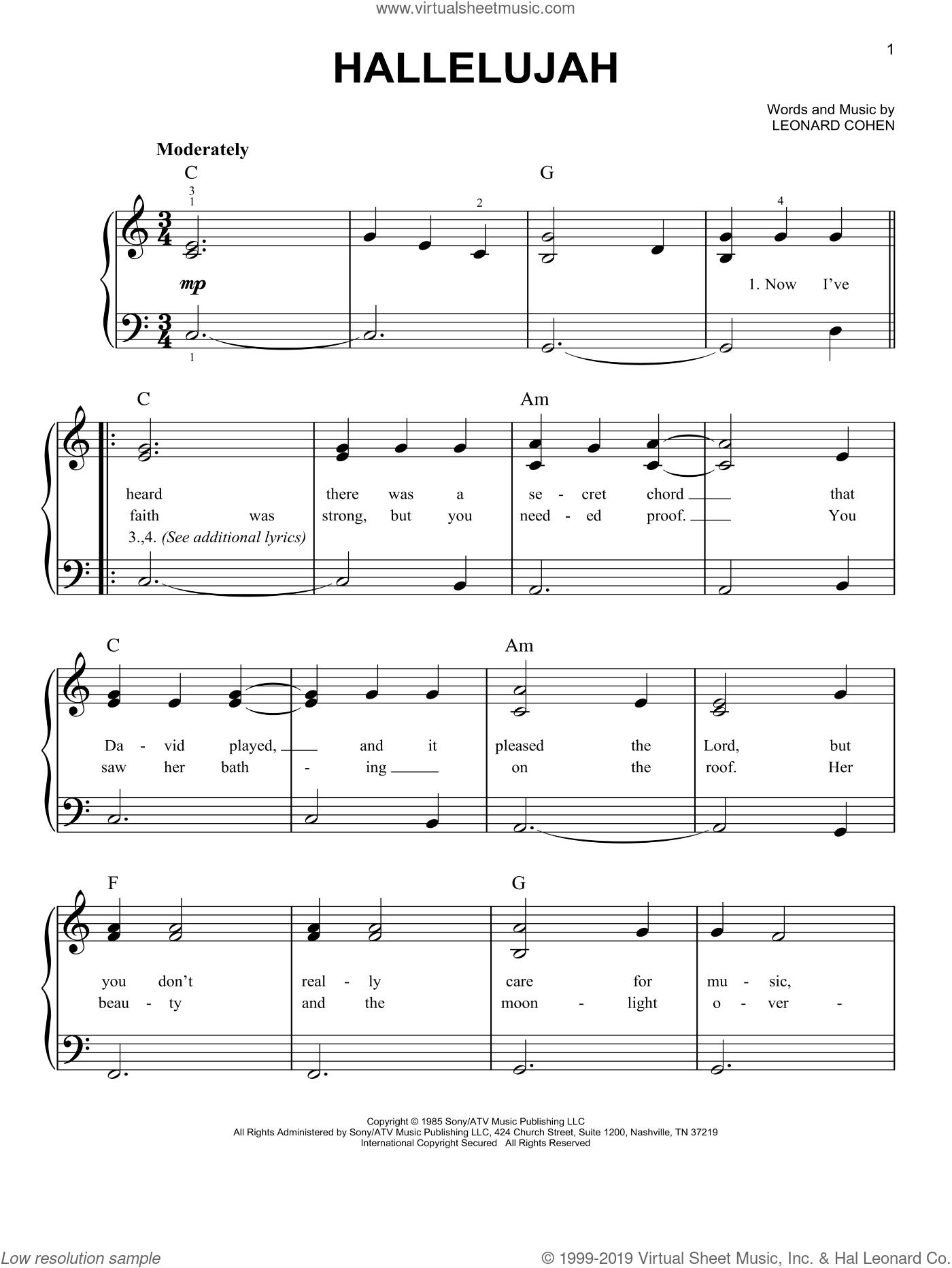 Hallelujah Leonard Cohen Sheet Music Clarinet