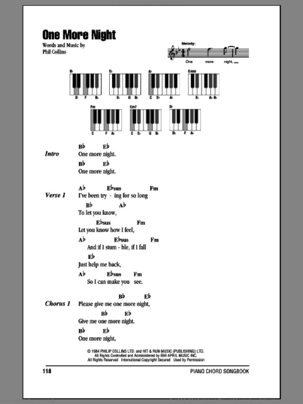 Collins - One More Night sheet music for piano solo ...