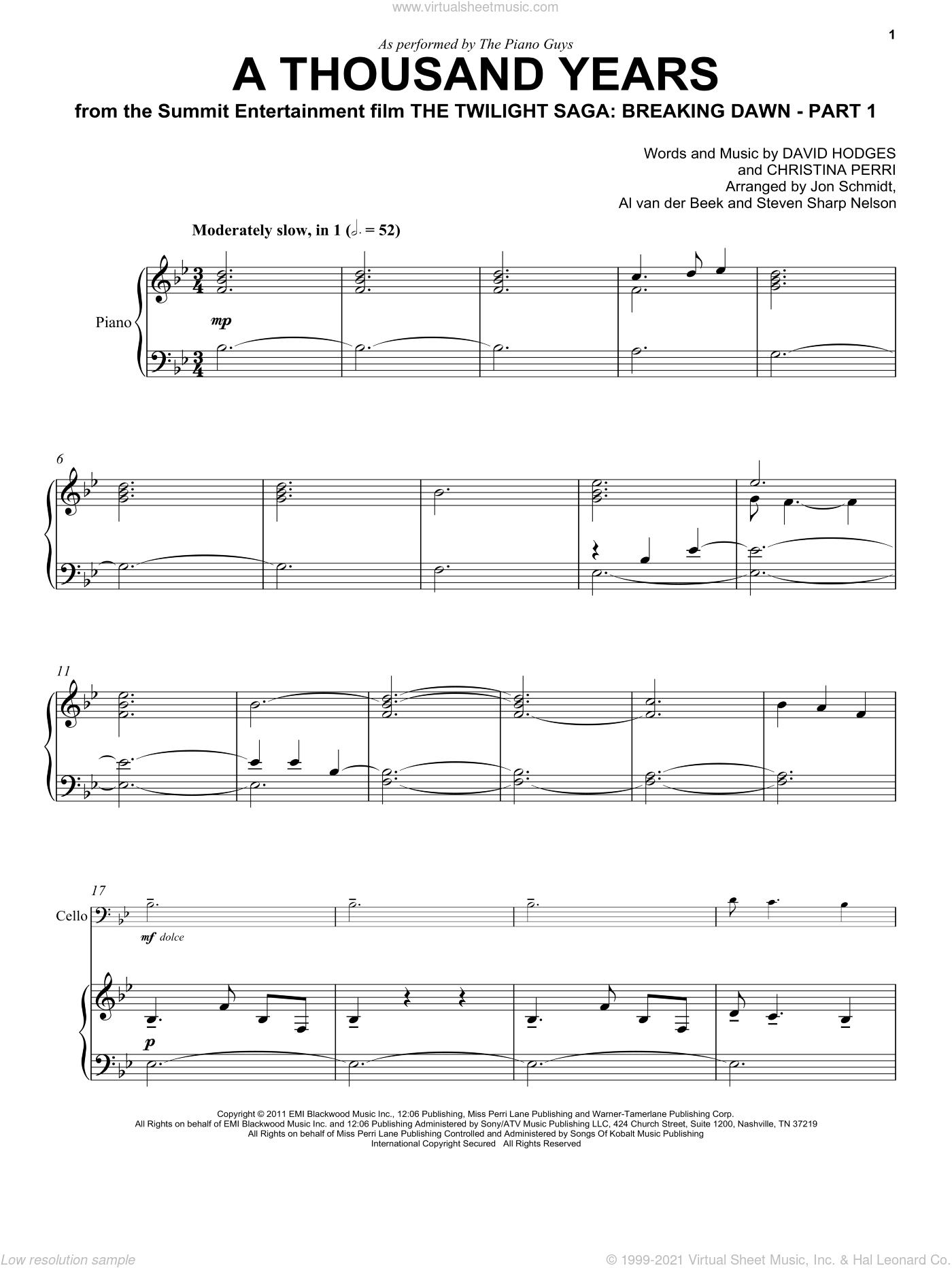 A Thousand Years Christina Perri Piano Sheet Music Free