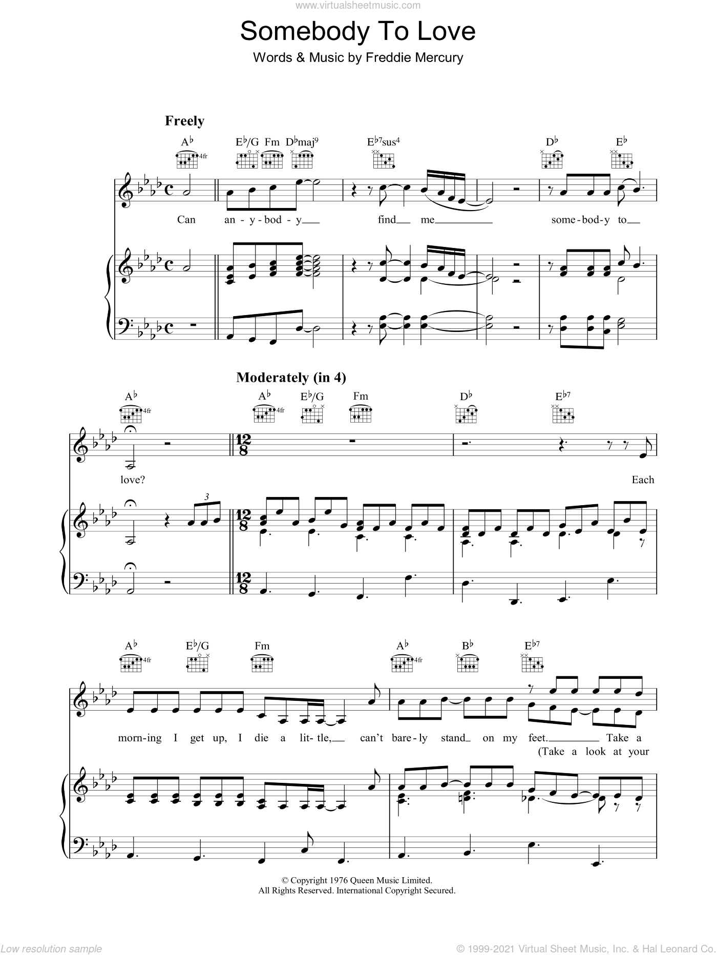 Somebody To Love Easy Piano Sheet Music