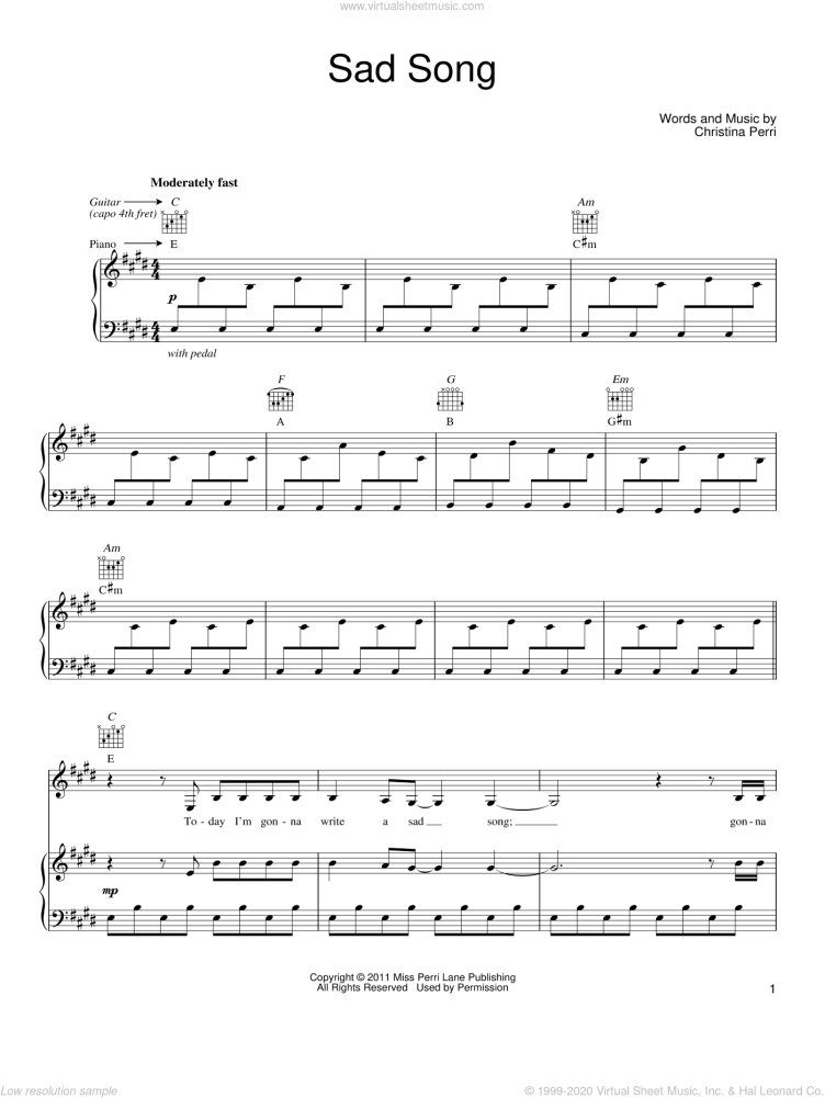 Perri - Sad Song sheet music for voice, piano or guitar [PDF]