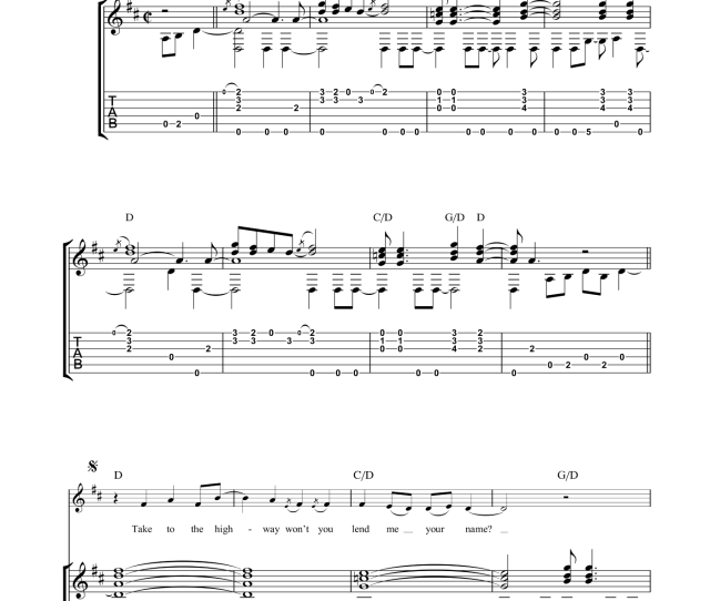 Country Road Sheet Music For Guitar Tablature By James Taylor Intermediate Skill Level
