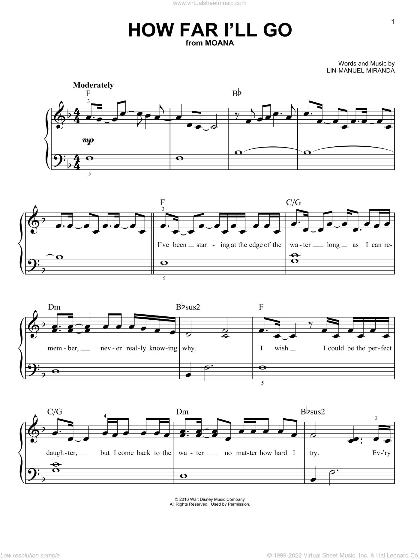 Cara - How Far I'll Go sheet music for piano solo [PDF]