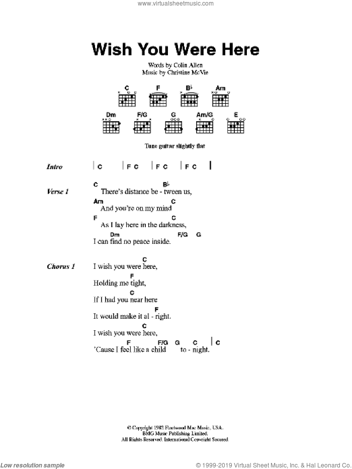 Mac Wish You Were Here Sheet Music For Guitar Chords PDF
