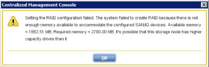 StoreVirtual VSA memory error