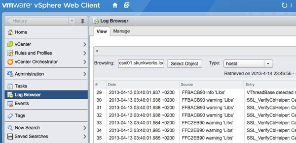 vSphere Web Client Log Browser