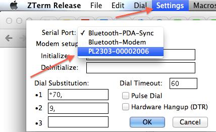 Zterm Modem Configuration