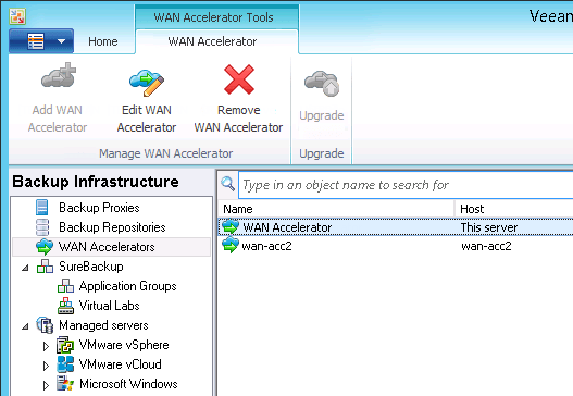 WAN Accelerator objects