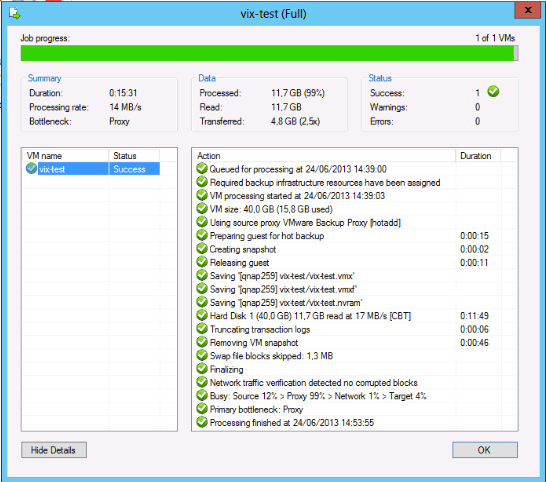 Veeam backup with VIX enabled