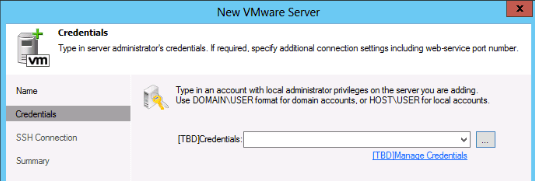 Add new vCenter in Veeam 7