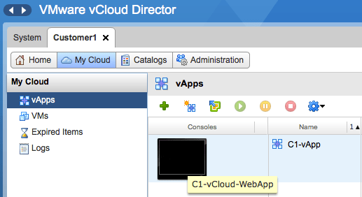How a vApp is seen in vCloud