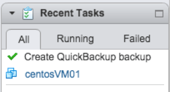 Quick Backup is completed