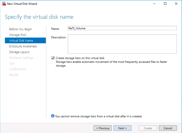 Enable tiers for the new virtual disk