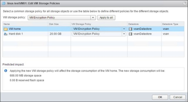 Apply the encryption policy to a VM