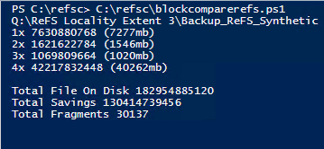 How much space am I saving thanks to ReFS blockclone