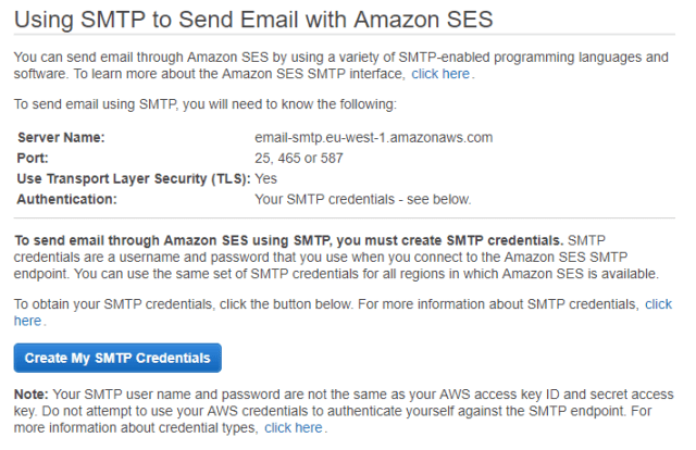 Using AWS Simple Email Service (SES) as an SMTP relay for different