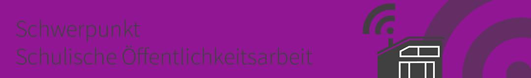 Themenschwerpunkt Schulische Öffentlichkeitsarbeit. Logo: Lene Kieberl/Virtuelle PH, cc-by-sa 4.0