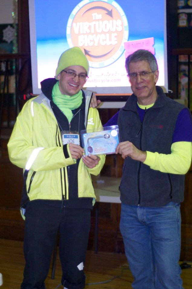 Joe Sharkey won the GRAND PRIZE - a CycleAware helmet mirror, courtesy CycleAware.com. Contrats Joe!