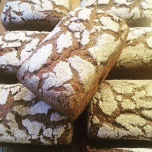 100% rye sourdough bread with caraway seeds.  Baked by Liz Wilson.