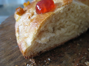 Slice of rosca de los reyos - light, fluffy, butter and delicious!