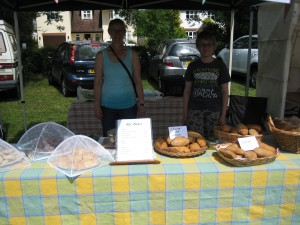 The Rye Bakes stall at Tring Festival (faithful assistant lovingly selling bread!)