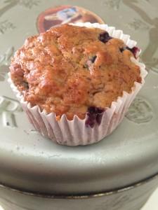 Fat free, vegan, sourdough blueberry and banana muffin.  YUM