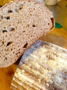Slice of whole wheat sourdough bread - much lighter than you think!