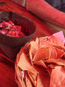 Totopos with pico de gallo