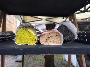 A bit odd - turmeric, beet root, charcoal loaves - no holes