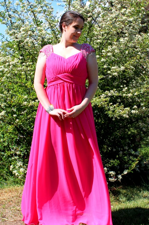 Crystal Pink Modest Prom Dress Sleeves