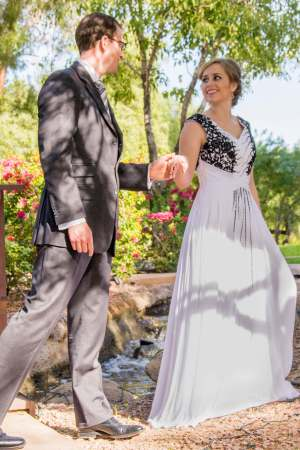 Sidney White Prom Dress with Black Lace