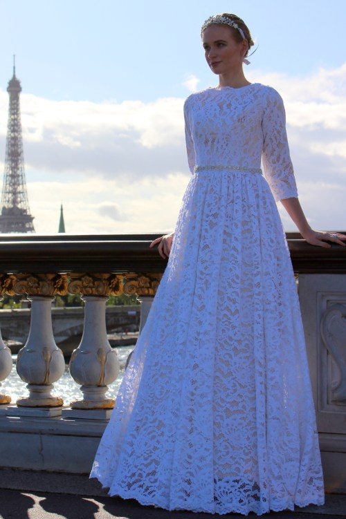 Anne Tznius Champagne White Lace Modest Wedding Dress Eiffel Tower Close Up