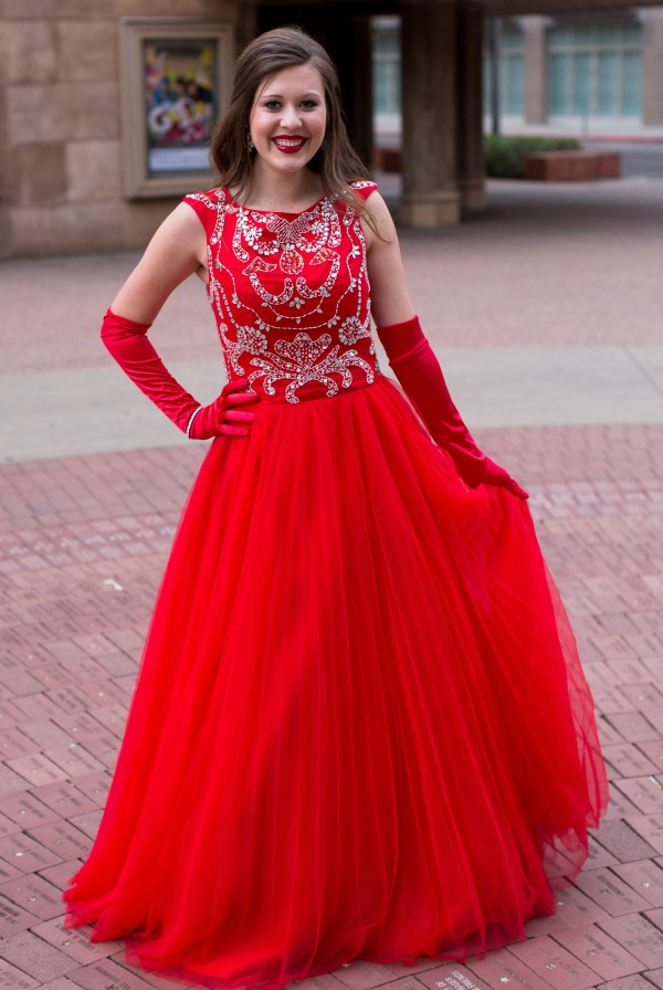 scarlet red modest prom dress