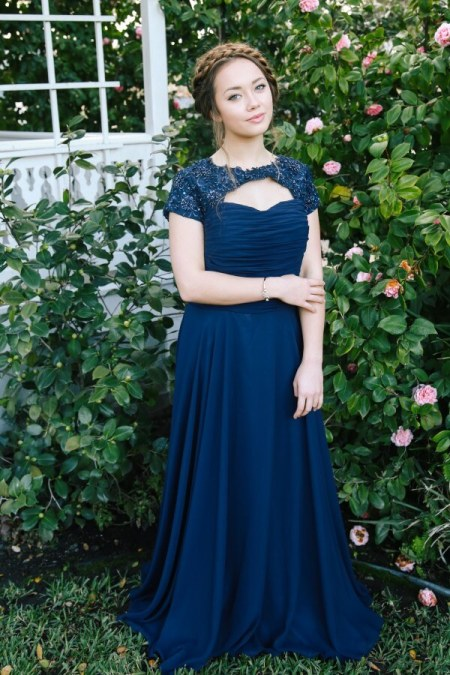 Hope Beaded Navy Blue Modest Prom Dress with Sleeves