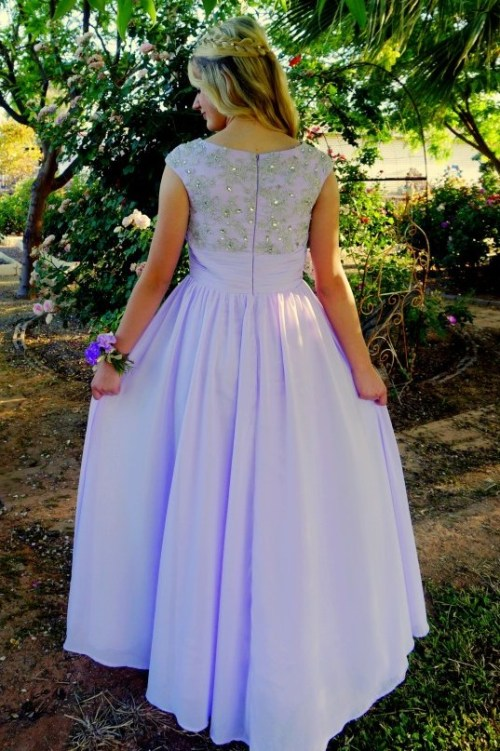 Emma Modest Purple Chiffon Prom Dress Sleeves Lace Beading