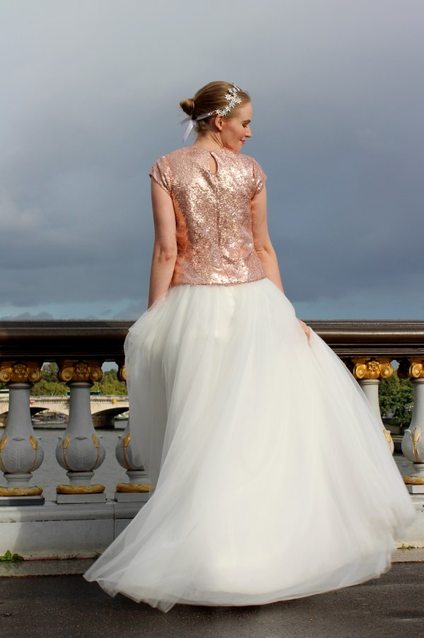 MacKenzie Rose Gold Sequin Ivory Tulle Modest Gown Sleeves Back