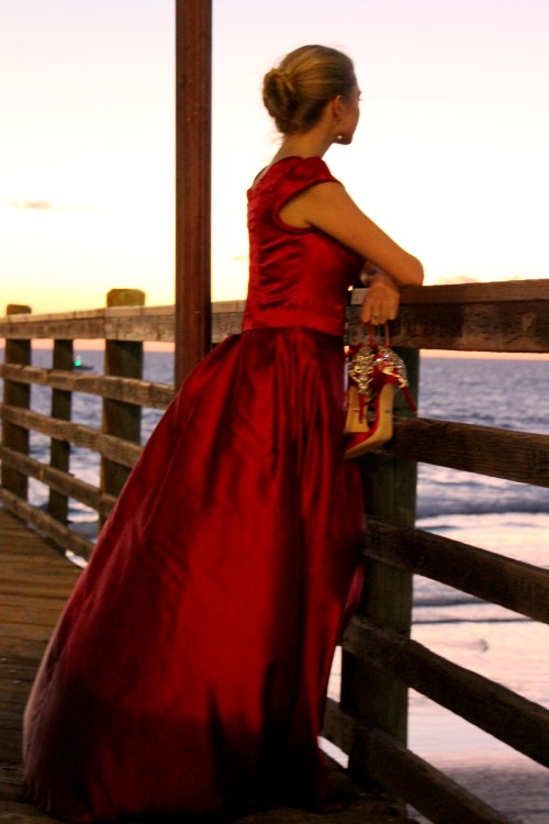 Clara Red Satin Modest Formal Prom Dress Sleeves Side View