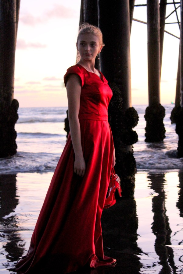 Clara Red Satin Modest Formal Prom Dress Sleeves