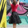 Black Tea Length Retro Petticoat Slip Pettiskirt
