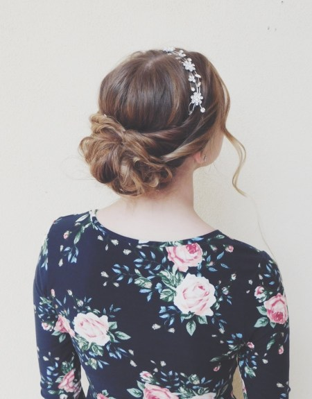 Updo with Rose Headpiece