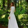 Isabella Ivory Modest Medieval Inspired Wedding Dress Back View