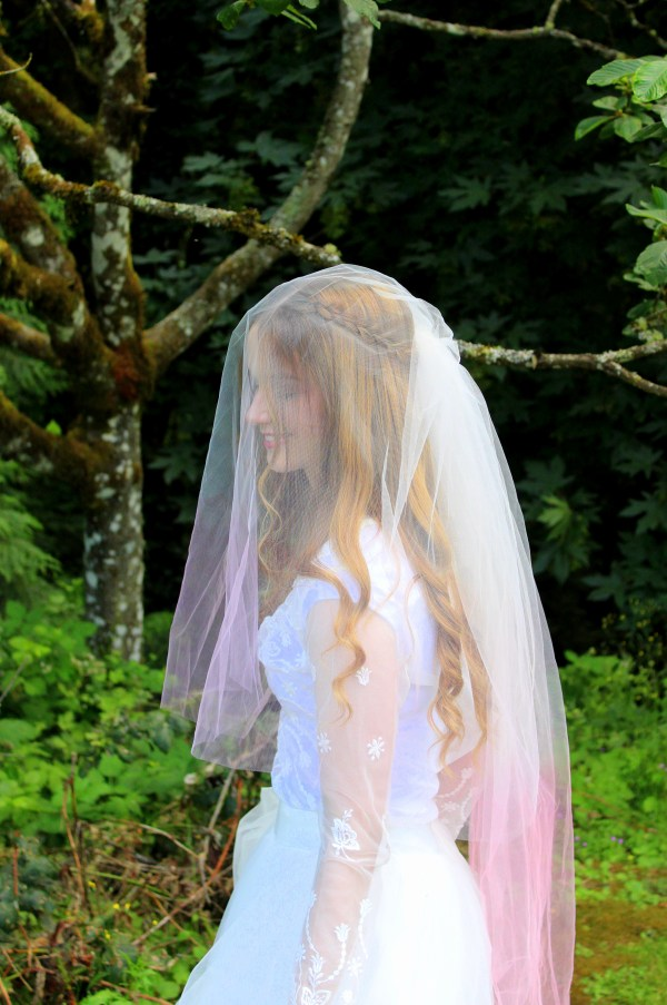 Pink Ivory Ombre Two Tier Wedding Veil
