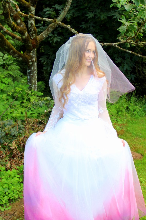Pink Ombre Two Tier Wedding Veil with Ombre Skirt