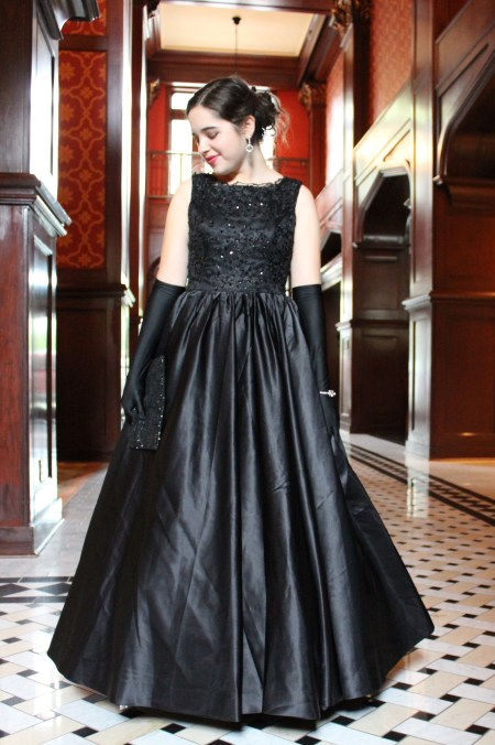 Black Lace Beaded Duchess Satin Vintage Inspired Modest Formal Prom Dress