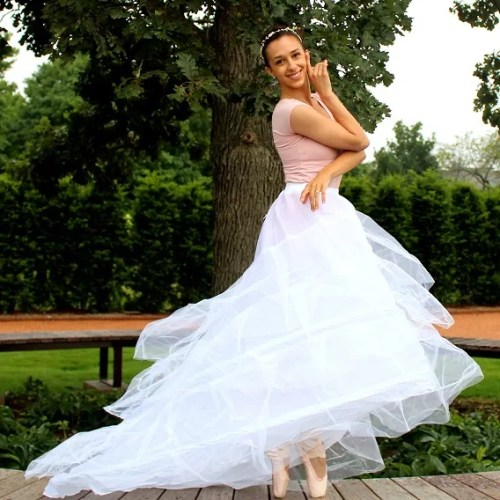 Long White Bridal Petticoat Slip Train