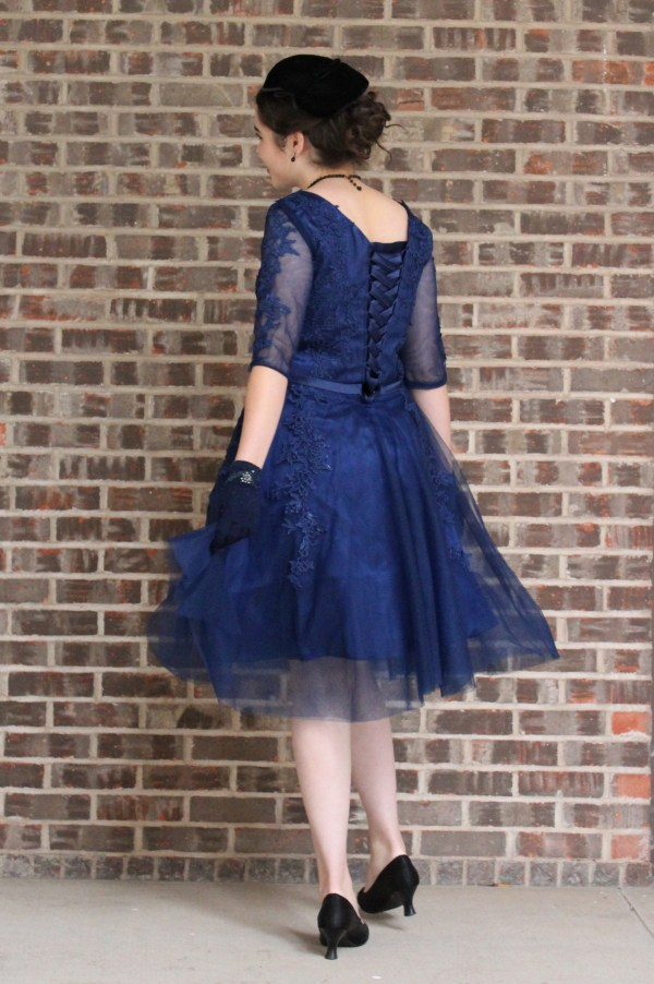 Navy Blue Modest Prom Dress with Sleeves Lace-Up Corset Back