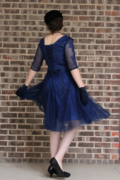 Navy Blue Modest Prom Dress with Three QuarterSleeves