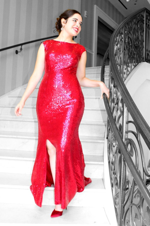 Red Sequin Modest Formal Prom Dress Sleeves